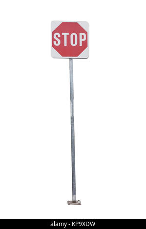 Street stop sign isolated on white background - Stock Photo