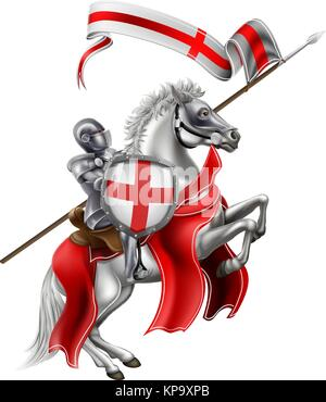 Saint George Medieval Knight on Horse - Stock Photo
