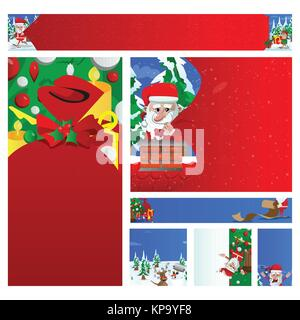 Christmas banner set. Santa pulling huge bag of gifts, reading naughty list, singing, hanging from a tree and pointing - Stock Photo