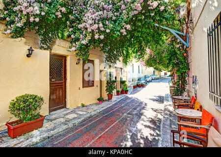A picturesque cafe of Plaka in Athens, Greece - Stock Photo