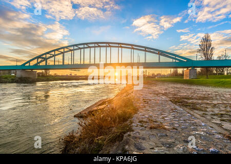 Sunset view at Sava river in Zagreb, Hendrix bridge scenery. - Stock Photo
