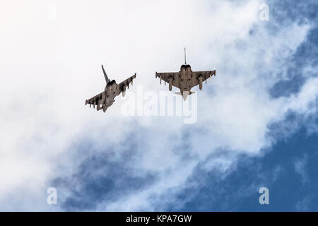 Two German Air Force, Eurofighter Typhoon EF2000 a twin-engine, canard-delta wing, multirole fighter. Photographed - Stock Photo