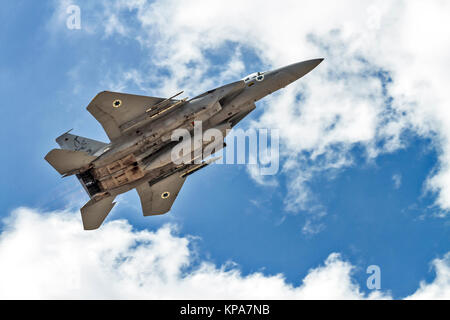"""Israeli Air Force (IAF) McDonnell Douglas F-15A in flight.  Photographed at the  """"Blue-Flag"""" 2017, an international - Stock Photo"""
