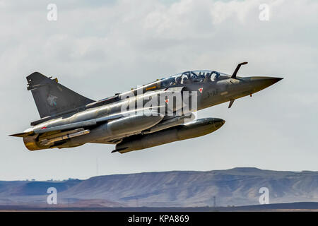 """France Air Force MIRAGE 2000D in flight. Photographed at the  """"Blue-Flag"""" 2017, an international aerial training - Stock Photo"""