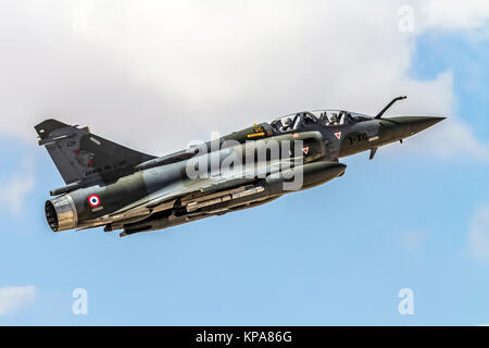 "France Air Force MIRAGE 2000D in flight. Photographed at the  ""Blue-Flag"" 2017, an international aerial training - Stock Photo"