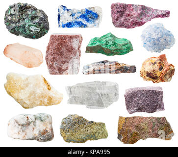 many natural rocks and stones isolated on white - Stock Photo