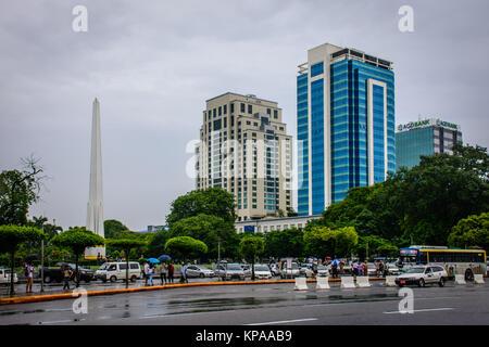 downtown area of Yangon in the rainy season, Myanmar, June-2017 - Stock Photo