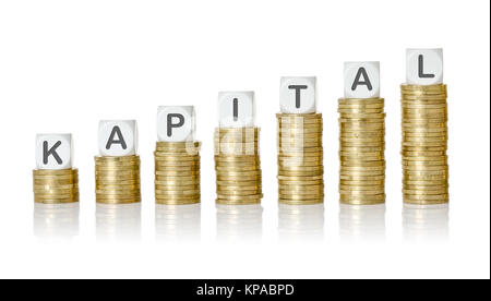münzstapel lettered cubes - capital - Stock Photo
