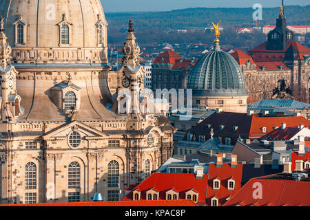 Aerial view of domes and roofs Dresden, Germany - Stock Photo