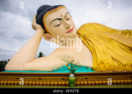 reclining image of buddha, Bago, Myanmar, june-2017