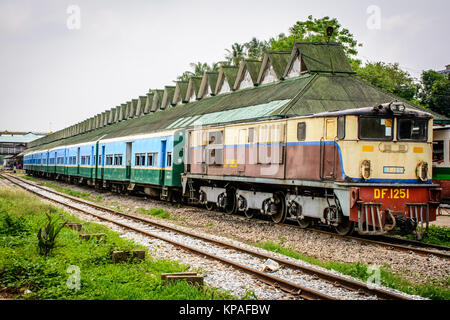 a train at the central railway station of Yangon, Myanmar, May-2017 - Stock Photo