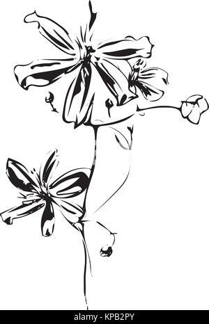 Hand Drawn Floral Alphabet Design Letter S Stock Vector Art
