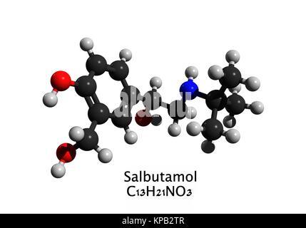 Molecular structure of salbutamol (albuterol, Ventolin), a medication used to treat asthma; 3D rendering - Stock Photo