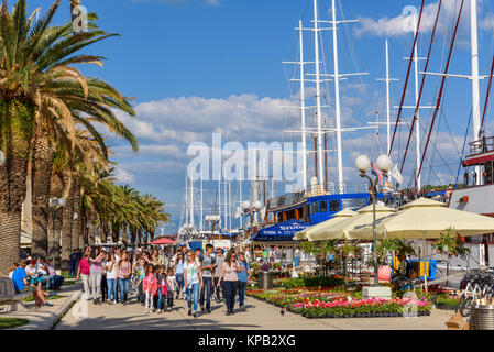 Cruise ships along the seafront promanade, Trogir Old Town, Croatia - Stock Photo