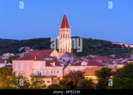 Dusk over Trogir Old Town, Croatia - Stock Photo