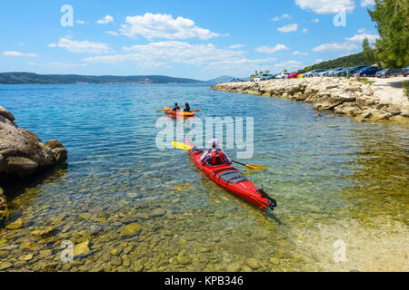 Sea kayaking near Split, Croatia - Stock Photo