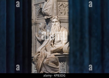 Rome. Italy. Sculpture of Moses by Michelangelo on the Tomb of Pope Julius II, Basilica di San Pietro in Vincoli. - Stock Photo