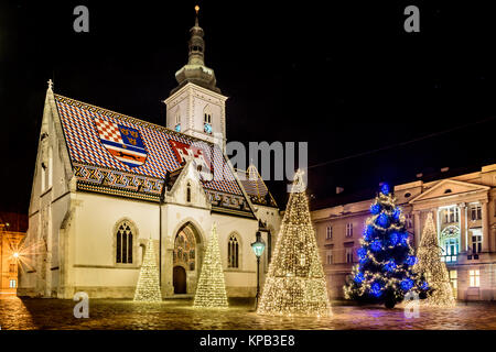 Night view at advent time in Zagreb city, popular tourist destination in Europe. - Stock Photo