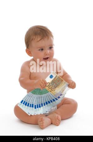 Model release, Kleinkind mit Geldscheinen, Symbolbild Kindergeld - little child with money - Stock Photo