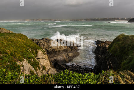 Atlantic Storm Brian raging at Newquay, Cornwall, UK - Stock Photo
