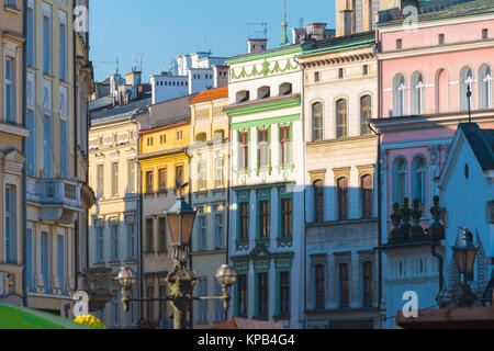 Poland baroque architecture, a colourful row of Baroque and Rococo buildings in the centre of Krakow, Poland. - Stock Photo