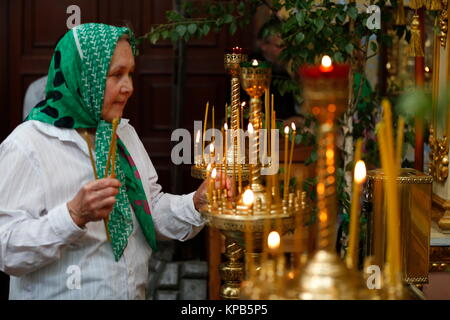 Belarus, Gomel city, St. Nicholas Monastery, a religious Orthodox holiday 'Palm Sunday' 18.06.2016 year. An old - Stock Photo