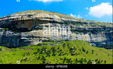 Outdoor color scenic landscape photo of a massive rock / hill in Golden Gate National Park, Drakensberg, South Africa, - Stock Photo