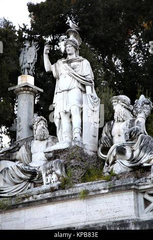 Fountain of  Dea di Roma with Tiber and Aniene, Piazza del Popolo in Roma, Italy - Stock Photo