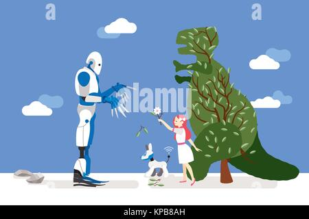 vector illustration about artificial intelligence and his risks.  A little innocent girl interacts with a gardener - Stock Photo