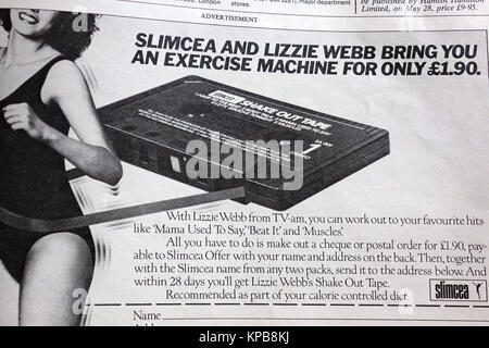 Advertisement in 1984 edition of UK magazine 'Woman' offering Slimcea workout cassette tape - Stock Photo