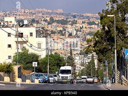 JERUSALEM, ISRAEL - SEPTEMBER 20, 2017: View of road in Jerusalem, Israel - Stock Photo