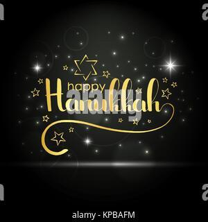 Happy Hanukkah golden handwritten lettering. Jewish festival of lights. Modern vector hand drawn calligraphy with - Stock Photo