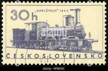 CZECHOSLOVAKIA - CIRCA 1966: post stamp printed in former Czechoslovakia (Ceskoslovensko) shows Ajax train 1841; - Stock Photo