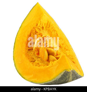 Orange Slice pumpkin isolated on white background with clipping path for package design. - Stock Photo
