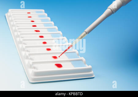 Biological assay concept. Array of blood samples for microscopy and a pipette on blue gradient background - Stock Photo