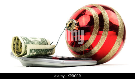 Red christmas ornament and hooked one dollar bill on calculator. - Stock Photo