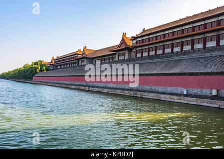 The Forbidden City under blue sky in Beijing,China. - Stock Photo