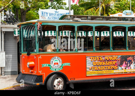 Old Town Trolley Tour Bus Beside Key West Municipal Aquarium FL
