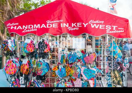 Handmade In Key West Clothing kiosk, Mallory Square sunset celebration - Stock Photo