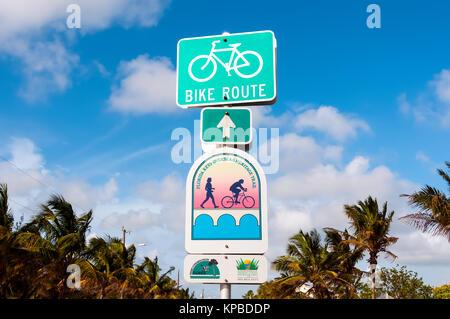 Florida Keys Overseas Heritage Trail bike route sign, Key West, Florida - Stock Photo