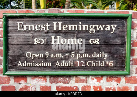Ernest Hemingway Home & Museum sign, Key West, Florida - Stock Photo