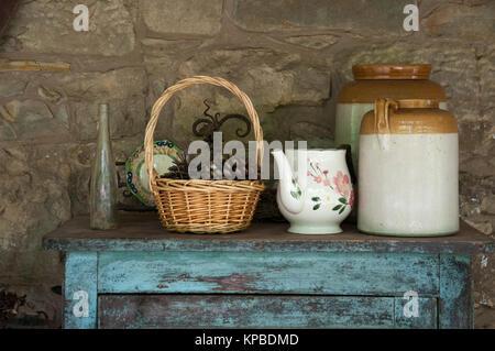 Rustic kitchenware display at Lavandula Swiss Italian Farm near Hepburn Springs, a popular weekend destination in - Stock Photo