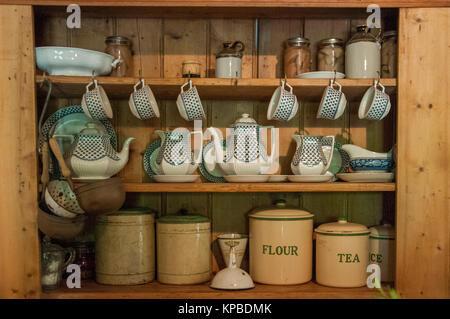 Rustic kitchenware at Lavandula Swiss Italian Farm, near Hepburn Springs, a popular weekend destination in Victoria, - Stock Photo