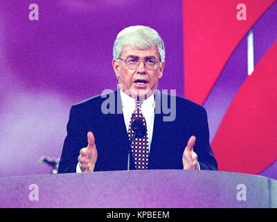 Former United States Secretary of Housing and Urban Development Jack Kemp delivers his speech accepting the 1996 - Stock Photo