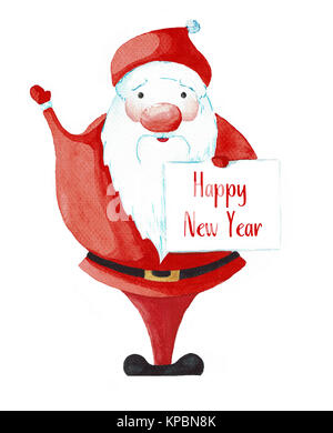 Cartoon Santa Claus painted watercolor isolated on white background. Postcard for Christmas and New Year. - Stock Photo
