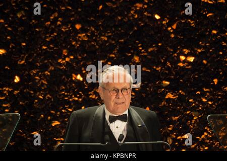 Former U.S. Defense Secretary Donald Rumsfeld speaks after being recognized with the Community Leadership award - Stock Photo