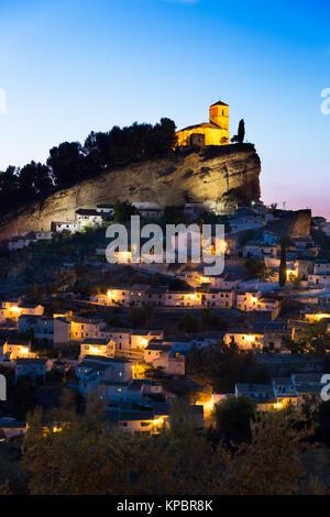 Montefrio at dusk, Province of Granada, Spain - Stock Photo