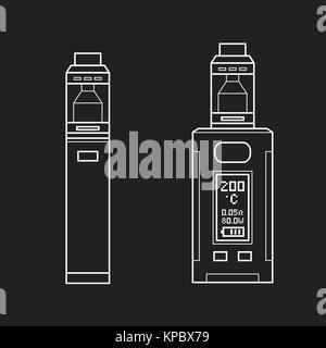 vector white monochrome outline illustrations various types vaporizer mechanical and box mods illustrations isolated - Stock Photo