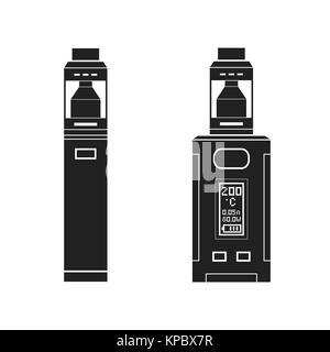 vector black monochrome solid illustrations various types vaporizer mechanical and box mods illustrations isolated - Stock Photo