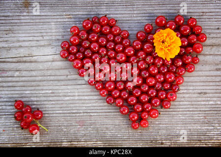 Heart shape from redcurrant  Love theme concept for
